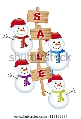 snowman with announcement sale over white background. vector