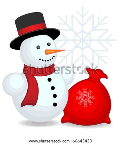Snowman with bag