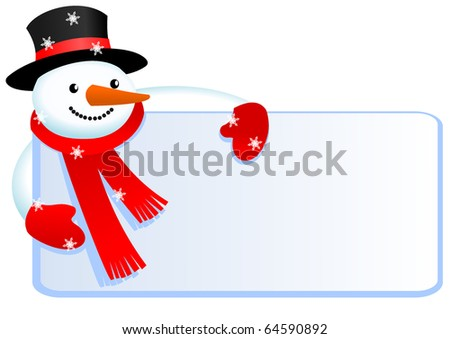 snowman with banner