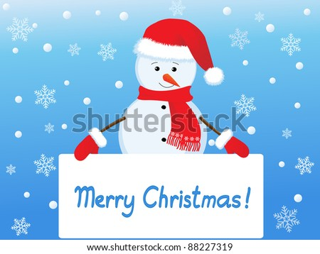 snowman  with banner - stock vector