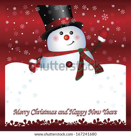 Snowman with banner, Merry Christmas and Happy New Year text ...