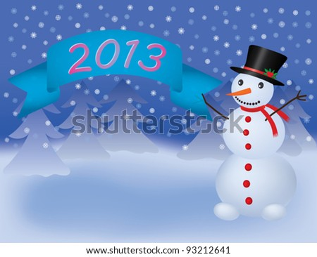 snowman with banner scroll 2013 vector illustration