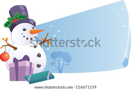 Snowman with banners - stock vector