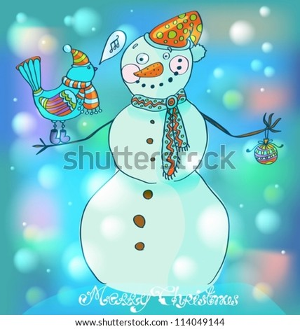 Snowman with bird, cute background for Christmas or New Year design, vector