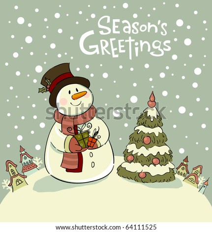 Snowman with gifts beside christmas tree.