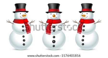 Snowman with hat and scarf isolated on white background. Set of snowman in three angles. Vector illustration