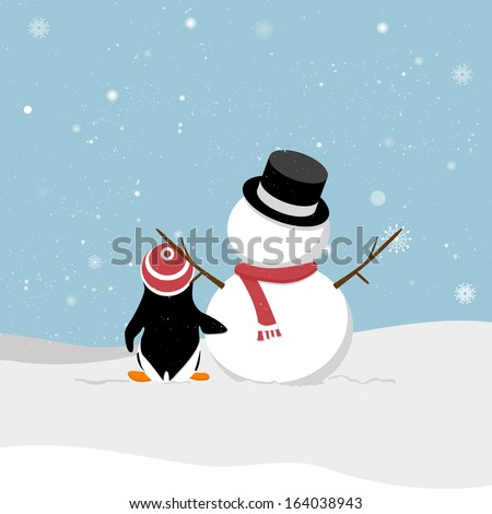 Snowman with penguin. Snowman with penguin viewing snowy.