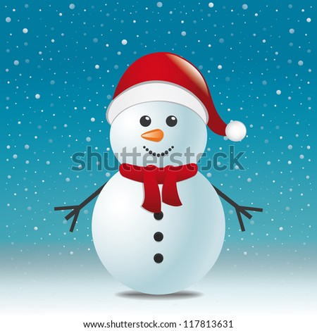 snowman with scarf hat blue snow background