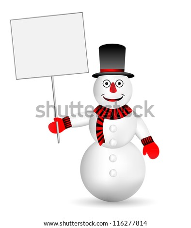 Snowman with sign on white background - vector - stock vector