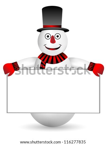 Snowman with sign on white background - vector