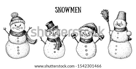 Snowmen engraved style illustration. Hand drawn sketch with snowman. Vector illustration.  Snowmen collection.