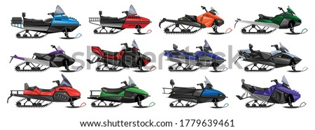 Snowmobile isolated cartoon set icon.Vector illustration snow motorcycle on white background .Cartoon vector set icon snowmobile. Stock photo ©