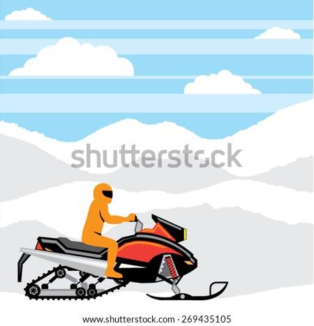 Snowmobile landscape vector