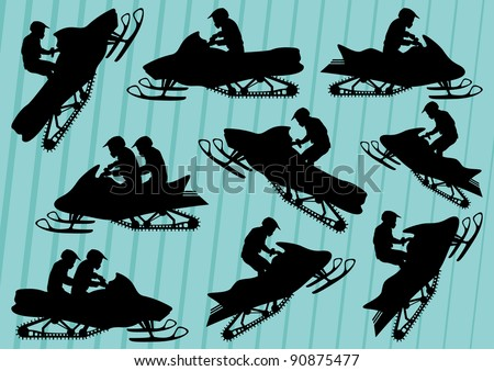 Snowmobile motorbike silhouettes illustration collection background