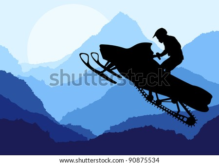 Snowmobile rider in wild nature landscape background illustration