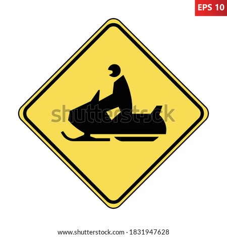 Snowmobile road sign. Vector illustration of yellow diamond shaped traffic sign with snow scooter icon inside. Snow scooter crossing symbol isolated on white background. Trail caution label. Сток-фото ©