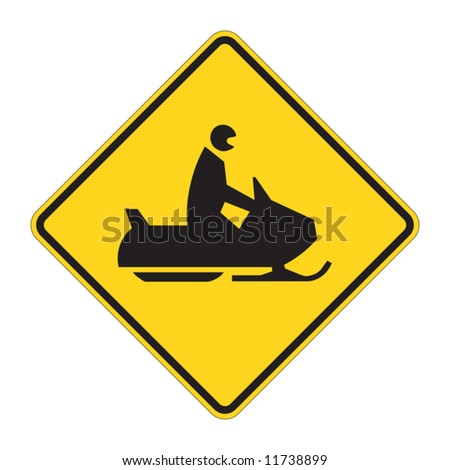 Snowmobile warning sign on white