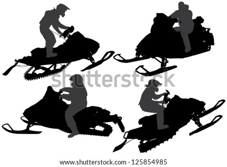 snowmobile jumping download free vector art stock graphics images Snowmobile Girls snowmobiling silhouette on white background