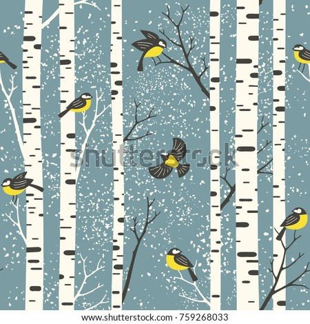 snowy birch trees and birds on