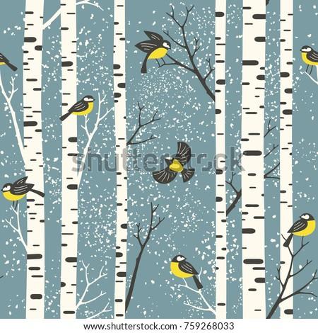 snowy birch trees and birds on