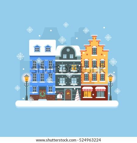 snowy christmas street flat