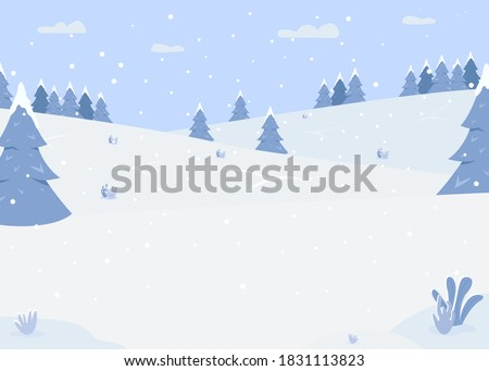 snowy forest hills flat color