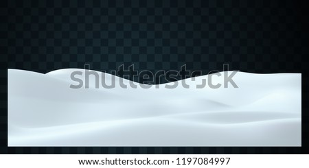 Snowy landscape isolated on dark transparent background. Vector illustration of winter decoration. Snow background. Snowdrift. Game art concept stock photo