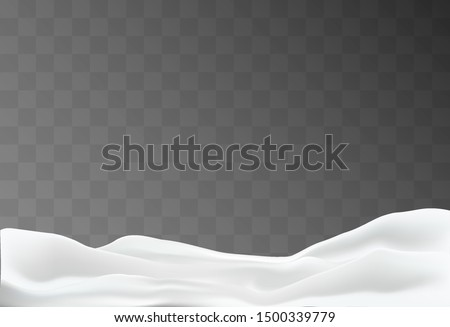 Snowy landscape isolated on dark transparent background. Vector illustration of winter decoration. Snow background. Snowdrift. Game art concept