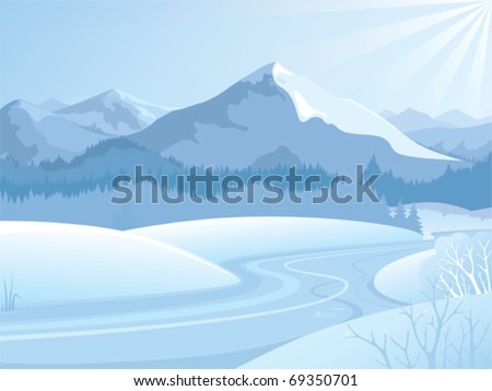 snowy landscape with mountains