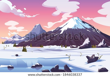 snowy mountain view with a pink