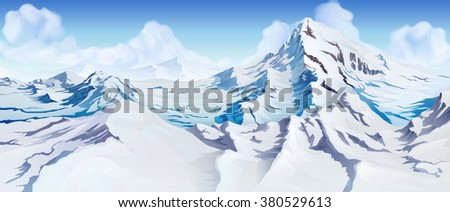 snowy mountains landscape
