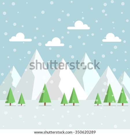 snowy mountains peak with woods