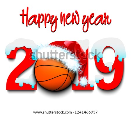 Snowy New Year numbers 2019 and basketball ball in a Christmas hat on an isolated background. Creative design pattern for greeting card, banner, poster, flyer, party invitation. Vector illustration