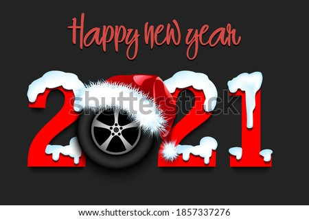 Snowy New Year numbers 2021 and car wheel in a Christmas hat on an isolated background. Creative design pattern for greeting card, banner, poster, flyer, party invitation. Vector illustration