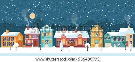 snowy night in cozy christmas
