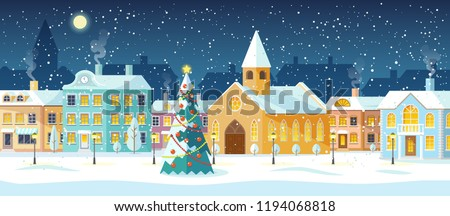 Snowy night in cozy town city panorama. Winter town village landscape at night with christmas tree and snow