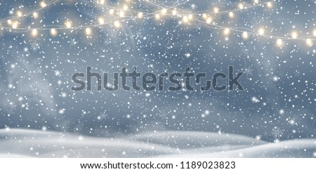 Snowy night with light garlands, falling snow, snowflakes,  snowdrift for winter and new year holidays. Holiday winter landscape. Christmas vector background.