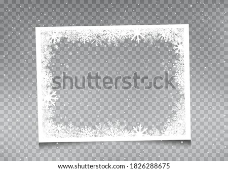Snowy rectangular frame template on gray transparent background. Christmas snowflakes holiday ice ornament banner