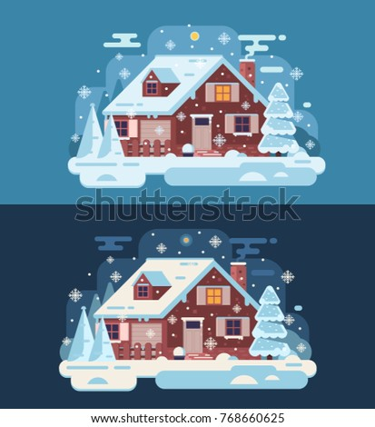 snowy scene with country winter