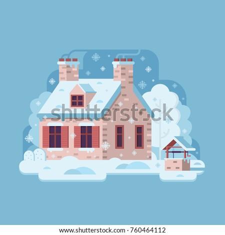 snowy scene with farm winter
