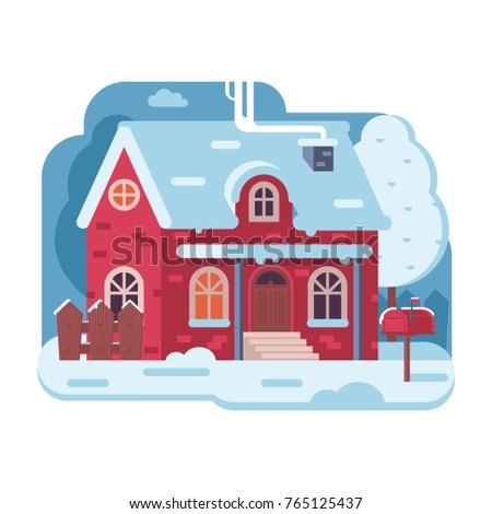 snowy scene with red farm