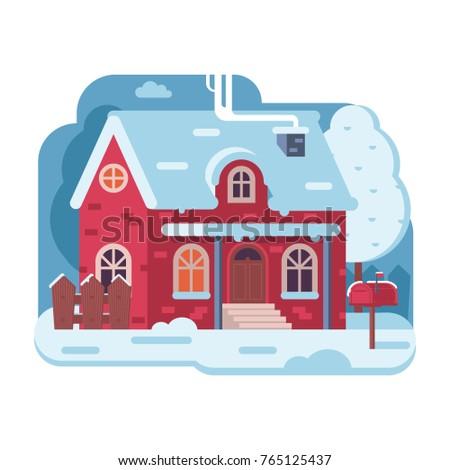 snowy scene with red farm