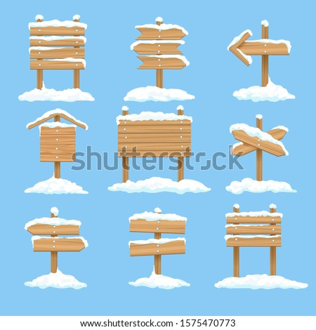 Snowy signboards. Winter wooden signs, wood christmas direction arrows, vector xmas snow covered banners