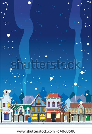 Snowy winter in a small town. Background with an empty space for your text