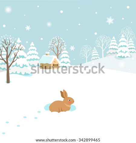 Snowy winter landscape with rabbit
