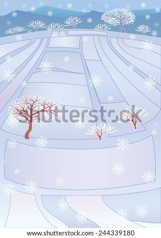 snowy winter scene of a cabin
