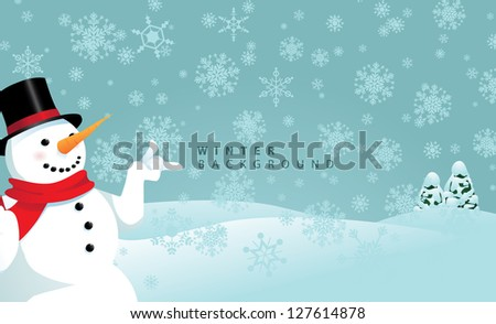 Snowy Winter Snowman Background EPS 8 vector, no open shapes or paths. Grouped for easy editing.