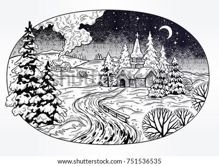 snowy winter village landscape. ...