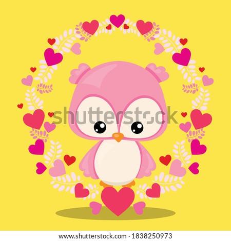 snuggle fox owl design vector illustration Photo stock ©