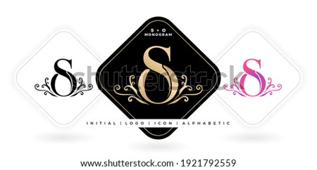 SO initial letter and graphic name, SO Monogram, for Wedding couple logo monogram, logo company and icon business, with three colors variation designs with isolated white backgrounds Zdjęcia stock ©